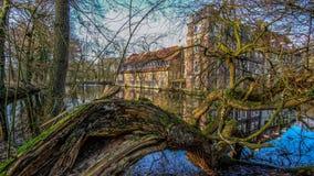Senden Coesfeld, Musterland December 2017 - Watercastle Wasserschloss Schloss Senden under solig dag i vinter Arkivfoto