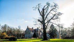 Senden, Coesfeld, Musterland Grudzień 2017 - Watercastle Wasserschloss Schloss Senden podczas słonecznego dnia w zimie Obrazy Royalty Free