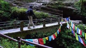 Senderismo caucásico joven del hombre en Nepal Turismo masculino activo Viajero que camina en Forest Highlands del Himalaya almacen de video