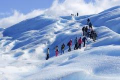 Senderismo del glaciar en Pertito Moreno Patagonia, la Argentina Foto de archivo libre de regalías