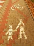 Sendero de la piedra del adoquín del parque del otoño con las marcas para los motoristas y los peatones Imagenes de archivo