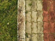sendero del ladrillo con la hierba verde Imagen de archivo libre de regalías