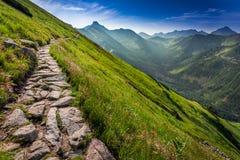Sendero en las montañas en la salida del sol, Polonia de Tatras Imagen de archivo libre de regalías