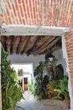 Sendero encantador por completo de plantas en Frigiliana, pueblo blanco español Andalucía Imagen de archivo libre de regalías