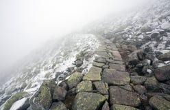 Sendero pedregoso en el paisaje del invierno que lleva en la niebla Fotografía de archivo libre de regalías