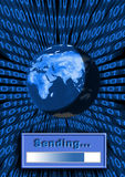 Sending. Earth, world wide web, binary Royalty Free Stock Photo