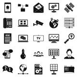 Sending data icons set, simple style. Sending data icons set. Simple set of 25 sending data vector icons for web isolated on white background Stock Photography