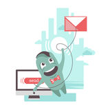 Sending e-mail. The funny character is sending e-mail letter Royalty Free Stock Photo