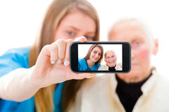 Sending feedback to family at home Royalty Free Stock Images