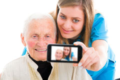 Sending feedback to family at home Royalty Free Stock Photo