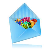 Sending gift with mail Royalty Free Stock Photo