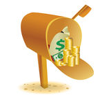Sending with gold in mailbox Stock Image