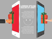Sending happy gift from mobile. Phone to another smart phone all around people vector illustration Royalty Free Stock Image
