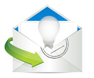 Sending an idea, Open envelope Royalty Free Stock Photography