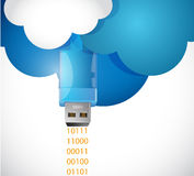 Sending information from the cloud. illustration Stock Photos