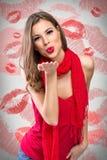 Sending kiss. Young beautiful girl sending kiss royalty free stock image