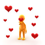 Sending kisses. A glossy character is sending kisses Royalty Free Stock Image