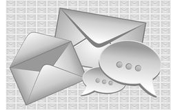 Sending a letter. Envelope and electronic message Stock Photos