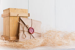 And sending a love letter on  white background Royalty Free Stock Photo