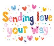 Sending love your way. Decorative type lettering design Stock Photos