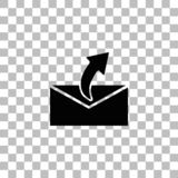 Sending mail icon flat. Sending mail. Black flat icon on a transparent background. Pictogram for your project vector illustration