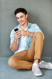 Sending message to friend. Royalty Free Stock Photography