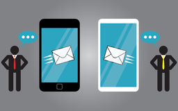 Sending messages on smart phone Royalty Free Stock Images