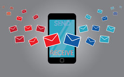 Sending messages on smart phone Royalty Free Stock Photography