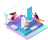 Sending Messages. Vector Isometric Illustration. royalty free illustration