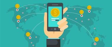Sending money banner, flat style. Sending money banner. Flat illustration of sending money vector banner for web Stock Photography
