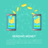 Sending money concept, cartoon style. Sending money concept set. Cartoon illustration of sending money vector concept for web Stock Images