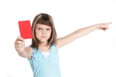 Sending-off. A young girl books someone. All isolated on white background Stock Photo