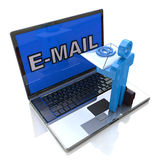 Sending Receiving E-Mail Through Laptop Royalty Free Stock Photo