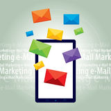 Sending or receiving e-mail marketing in tablet or smartphone. Letter envelope representing the sending or receiving e-mail marketing in the digital world Stock Images