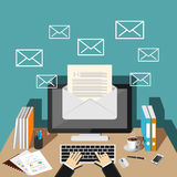 Sending or receiving email. Stock Image