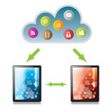 Sending and receiving files in cloud computing. Through digital tablets Royalty Free Stock Image
