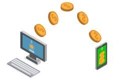 Sending and receiving money. Send money wireless. Stock Photos