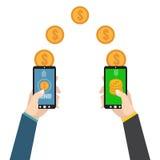 Sending and receiving money. Send money wireless. Vector illustration Royalty Free Stock Photo
