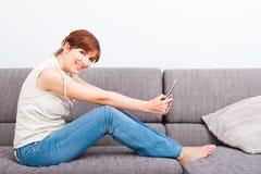Sending a text message Stock Photos