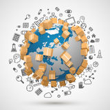Sending worldwide, icon set Stock Photo