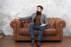 Sendo-se que é autêntico Homem de neg?cio Homem de negócio elegante que relaxa no sofá Treinador seguro do neg?cio bearded foto de stock royalty free