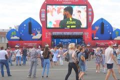 Sendung des Matches Dänemark-Australien Lizenzfreie Stockfotos