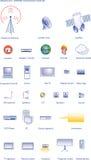 Sendung u. Internet-Technologieikonenset Lizenzfreie Stockbilder