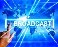 Sendungs-Karte zeigt Internet-Sendung und Getriebe von an Lizenzfreies Stockbild