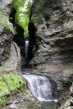 Seneca Falls Waterfall y pasos de piedra Foto de archivo