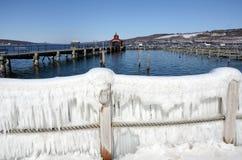 Seneca Lake Harbor após o ` de Stella do ` da tempestade do inverno Fotos de Stock Royalty Free