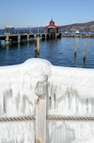 Seneca Lake Harbor after winter storm `Stella` Stock Photography