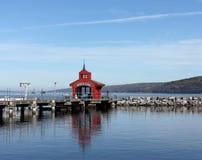 Seneca Lake. The pier at Seneca Lake harbor in Watkins Glen, New York royalty free stock photos