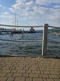 Seneca Lake Pier. Walking the Pier at Seneca Lake stock photography