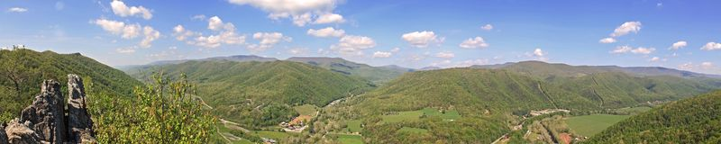 Seneca Rocks Panorama. Panoramic shot from the top of Seneca Rocks in the mountains of southern West Virginia Stock Images